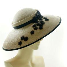Vintage Style SAUCER HAT - Taupe Panama