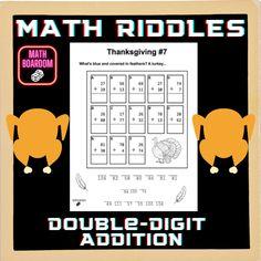 Thanksgiving Math Riddles |Addition Math Worksheets
