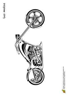 Une moto très stylée à colorier Harley Bikes, Harley Davidson Motorcycles, Chevy Tattoo, Motorbike Drawing, Lilo Et Stitch, Harley Davidson Tattoos, Car Tattoos, Bike Sketch, Moto Cross