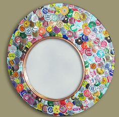 16 Craft Ideas How To Use Bottle Cap  Flattened on frame or background for clock...