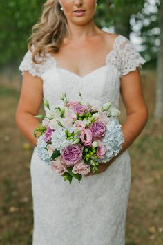 pastel rose and hydrangea bouquet
