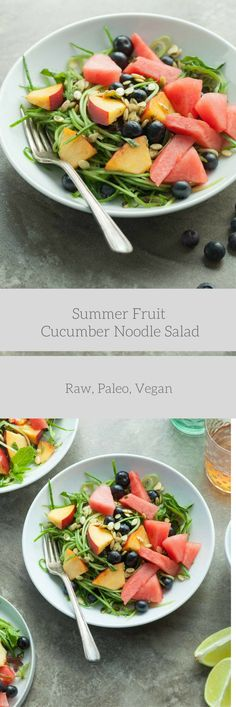 A cooling cucumber noodle and summer fruit salad with a mix of sweet and savory flavors. Raw, paleo, vegan