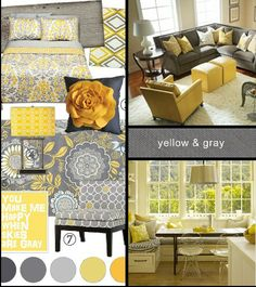 Yellow & Gray Check out the window seat. Would look nice with the yellow/gray kitchen (with pops of white & avocado green! Grey Yellow Kitchen, Grey And Yellow Living Room, Grey Bedroom With Pop Of Color, Gray Yellow, Yellow Accents, Yellow Gray Bedroom, Yellow Couch, Gray Color, Colour Combo
