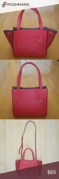 """Banana Republic Pebbled Italian leather tote Italian leather tote is a timeless must have that will easily complete anyone's look.  Add a pop of orange to your look with luxurious vibrant hued Italian leather and suede carry all tote. Pair this luxe handbag with a feminine shirt and jeans. 8.75"""" W , 8""""H , 6""""D . Exellent condition. Banana Republic Bags Shoulder Bags"""