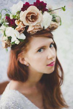 Dahlia and rose hair piece