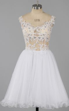 Sexy Off-the-shoulder Homecoming Dresses, See-through White Homecoming Dresses