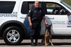A rare and generous donor: An IMA and CBP Canine Enforcement Officer Hugo Nunez and his dog, Kenza. (Photo courtesy of U.S. Customs and Border Protection)