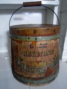 Rare antique firkin with original Keystone Mine Meat label.