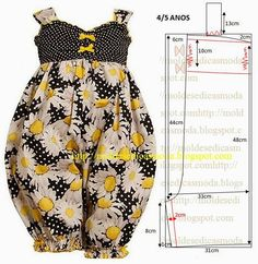 Moldes Moda por Medida: MACACÃO DE CRIANÇA 4/5 ANOS i think this would be much cuter with out the legs gathered, so it would look more like a dress
