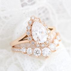 We heard that you love our Vintage Inspired Rings! So, we decided to show you a bridal set that will make everyone in the room turn~ 👀 . . This exquisite bridal set features Pear Moissanite Vintage Luna Halo Ring + Large 7 Diamond in Pave Band. Tap Shop-LA-Instagram link in our bio above for pricing and details⠀ 💌 Email us for your custom made ring inquiry #wedding #engaged #engagementring