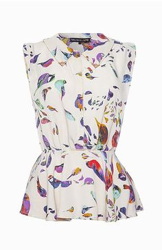 Bird print peplum top