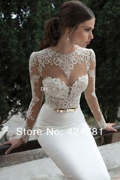 front of satin wedding dress mermaid lace long-sleeved sheer sexy new arrival noiva2014 years Vestidos