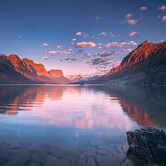 St Mary Lake in early morning with moon