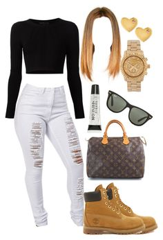 """""""Timberlands"""" by yaritzaj ❤ liked on Polyvore featuring Cushnie Et Ochs, Timberland, Louis Vuitton, Michael Kors, Sydney Evan, Torrid and Ray-Ban"""