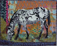 'Ella' - art quilt by Ruth McDowell. This polkadot appaloosa lives in retirement on a farm in Colrain, much to the delight of all passersby.