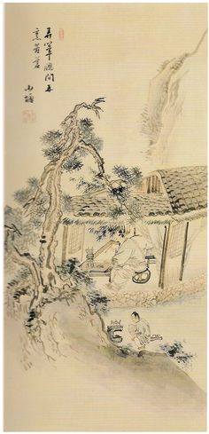 "Lee Jae-Gwan, ""Jeon Da Do"", 18C   Tea life of scholars in Joseon dynasty.   ""창가에서 붓 가는 대로 글씨를 쓰고 솥에서는 쓴 차를 끓인다. "" ""Writing by the window as the brush flows, boiling bitter tea in the pot."""