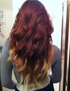 The hair ombre I want to do with brown, red & blonde