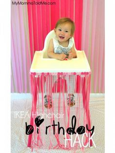IKEA highchair decoration for first birthday