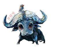 雪娃娃手绘治愈系水彩动物插画。