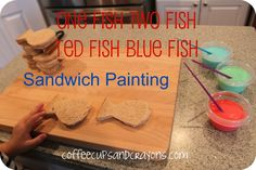 One Fish Two Fish Red Fish Blue Fish lunch and sandwich painting!