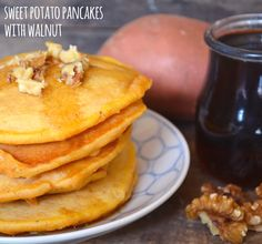 Sweet Potato Pancakes with Walnut - These sweet potato pancakes take a little extra time because you cook the sweet potato first, but it's so worth it!