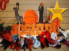 Basketball Themed Centerpieces   Theme Centerpieces for Birthday- Sweet 16 Mitzvah Quinceaneras