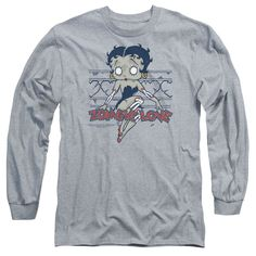 Betty Boop/Zombie Pinup Long Sleeve Adult T-Shirt 18/1 in Athletic Heather
