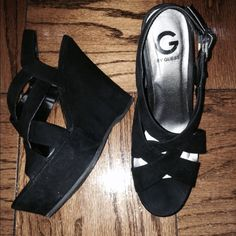 Strappy Black Wedge Heels Suede texture. Approx 4 inch heel. Worn a couple of times to only two graduations. Size 9.5 M. G by Guess Shoes Heels