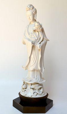 Tall Quan Yin White Porcelain Mid Century Statue Lamp on Wood Pedestal
