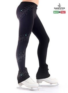 3ee6626801e2e SAGESTER style 402SW91Handmade in ItalyIce Skating Fitting Pants with  Coverskate on Heelwith Swarovski CrystalsThermal FabricRhinestones Spiral