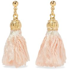Ben-Amun - Gold-plated Tassel Earrings ($38) ❤ liked on Polyvore featuring jewelry, earrings, peach, fringe tassel earrings, ben amun jewelry, peach jewelry, earring jewelry and post earrings