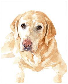 yellow lab watercolor print