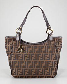 467f8177e3f3 Fendi Zucca Double-Strap Shoulder Tote Bag