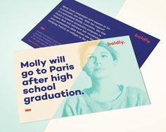 I conceptualized and designed the brand boldly., a service that supports young adults by facilitating the transition from high school to college or the next opportunity through counseling, mentoring, and planning. The brand build-out includes a website, i…