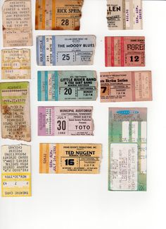 late 70s early 80s rock ticket stubs/backstage passes