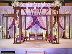 Garden theme wedding mandap, purple drapery for indian wedding Indian Wedding Receptions, Wedding Ceremony Ideas, Wedding Stage Decorations, Wedding Mandap, Desi Wedding, Hall Decorations, Bengali Wedding, Marriage Decoration, Wedding Themes