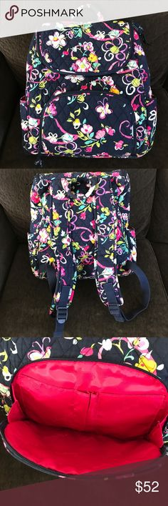 Vera Bradley Floral Backpack✨ Good condition. Carried plently of times but minor signs of wear on the outside. The inside has two small ink marks. Everything else looks clean no tears or rips. Vera Bradley Bags Backpacks
