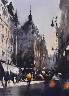 Watercolor Artists, Watercolor Landscape, Street View, Lights, World, Painting, Watercolors, Masters, Colour