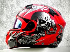 MASEI 815 DOT MOTORCYCLE HELMET RED SKULL M L XL XXL