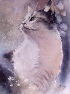 Katze  gato chat cat - watercolour painting