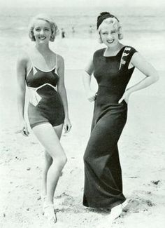 Just some of the over-the-top modest swimwear of the 1930s.
