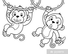Swinging monkey coloring pages Jungle Coloring Pages, Monkey Coloring Pages, Tree Coloring Page, Easy Coloring Pages, Online Coloring Pages, Coloring Pages For Girls, Free Printable Coloring Pages, Coloring Books, Coloring Sheets