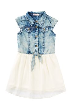 Denim Body Chiffon Dress (Little Girls) by Pinc Premium on @nordstrom_rack