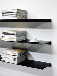 aluminum floating shelf 'Exilis' from nonuform. Red dot winner 2010.