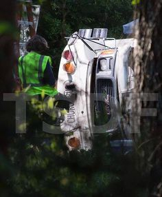 Bus Crash on The Walking Dead Season 5 Set...its a church bus...Father Gabriel?