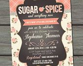 Baby Shower Invitation, Sugar and Spice Baby Shower Invitation, Chalkboard Baby Shower Invitation, Shabby Chic Invitation