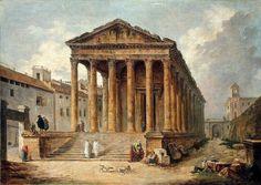Hubert Robert (París, 1733-1808) Templo antiguo: La Maison Carrée en Nimes (1783)   Hubert Robert (Paris, 1733-1808) Ancient Temple: La Maison Carrée at Nimes (1783) San Petersburgo (Ermitage)
