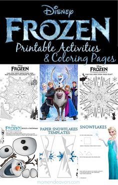 Awesome Disney's FROZEN printable activities & coloring pages via momendeavors.com! Snowflake mazes, printable character memory cards, and more! #Disney #DisneyFrozen