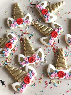 Girly floral Unicorn birthday cookies