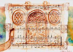 Venise Ocre Porte et gondole Dessin lavis sur papier musique